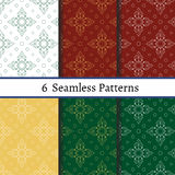 Set of six  seamless pattern. Patterns can be used as background, fabric print, surface texture, wrapping paper, web page backdrop, wallpaper. Vector Royalty Free Stock Photography