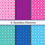 Set of six  seamless pattern. Patterns can be used as background, fabric print, surface texture, wrapping paper, web page backdrop, wallpaper. Vector Royalty Free Stock Photo