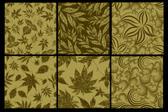 Set of six Seamless  patterns Stock Photos