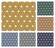 Entwined metal rings. Seamless patterns. Set of six seamless patterns that consist of entwined metal rings of different colors Stock Photos
