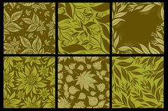 Set of six Seamless  patterns from leaves Royalty Free Stock Image