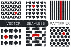 Set with six seamless patterns with triangles, strokes, rhombus, hearts , stripes and polka dots royalty free illustration