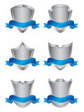Set of six silver shields. With banners Royalty Free Stock Image