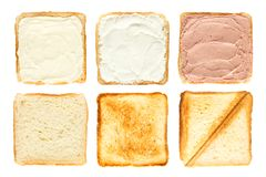 Set of six slices of toast bread with melted cheese, curd cheese and pate royalty free stock images