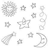 Set of stars in the sky. Hand drawing sketch. Black outline on white background. Vector illustration stock illustration