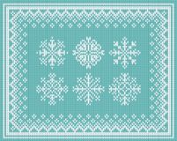 Abstract background with set of knitted snowflake. Set of six snowflakes frame on seamless knitted texture Royalty Free Stock Image