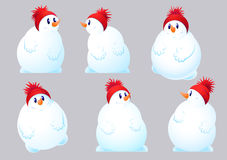 Set of six snowman Royalty Free Stock Images