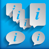 Set of six speech information bubbles for design. Info symbol. Stock Images