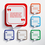Set of six speech information bubbles for design. Stock Image