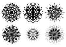 Set of six spirograph shapes. Web design elements isolated on white background. Black and white outline. Flowers and snowflakes. Can be used as coloring book Royalty Free Stock Photo
