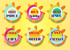 Set of six stickers, text - best price, buy now Stock Images