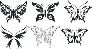 Set of six stylize butterfly Royalty Free Stock Photos