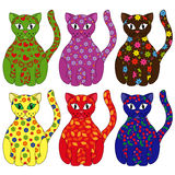 Set of six stylized cats Royalty Free Stock Images