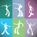 A set of six stylized dancers Royalty Free Stock Image