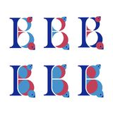Set of six stylized multicolored letters B with birds. Lettering for use in design stock illustration