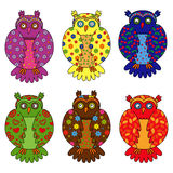 Set of six stylized owls Royalty Free Stock Image