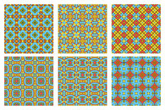 Set of six summer patterns. Summer colored set of six seamless patterns. Vector background Stock Photos