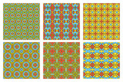 Set of six summer patterns. Summer colored set of six seamless patterns. Vector background Stock Photo