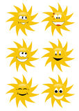 Set of six suns smiling Royalty Free Stock Photo
