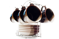 Set of six teacups and dishes Stock Photography
