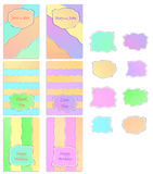 A set of six templates with labels. Pastel colors. Royalty Free Stock Photos