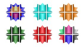 Set of six twelve-pointed stars divided into six parts for your design. Abstract unique illustration and decoration. Oil paint effect. Blue and orange, green Royalty Free Stock Photography