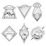 Set of six UFO emblems, labels, badges or logos.. Set of six UFO vector emblems, labels, badges or logos. Mystical symbol paranormal phenomena, first contact Stock Photo