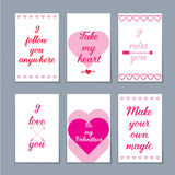 Set of six Valentine cards Stock Photos