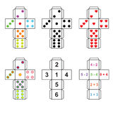 A set of six variants of dice. Paper template cut out, fold and glue royalty free illustration