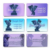 Set of six vector cards depicting gargoyles Royalty Free Stock Images