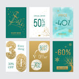 Set of six vector Christmas Promo seals stickers Stock Photo