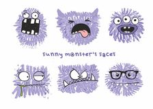 Set of six vector funny crazy monsters heads with different emotions on their faces. royalty free illustration