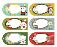 Set of six vector holiday Christmas tags with cartoon characters. With Santa Claus, Reindeer, Girl, Boy, Polar Bear, Snowman. All elements can be used as such vector illustration