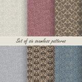 Set of six vector seamless patterns Stock Photo