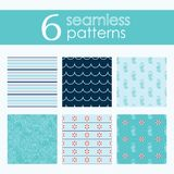 Set of six vector seamless patterns with lifebuoy, waves, stripes and seahorse. In red and shades f blue stock illustration