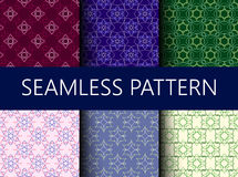 Set of six vector seamless patterns with ornaments Royalty Free Stock Photo