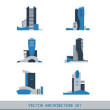 Set of six vector silhouettes of skyscrapers Stock Images