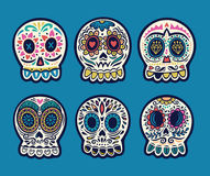 Set of six vector skulls. Mexican holidays collection. Set of illustrations with skulls. Mexican day of the dead. Freehand drawing. Colorful set Stock Photo