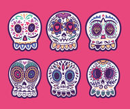 Set of six vector skulls. Mexican holidays collection. Set of illustrations with skulls. Mexican day of the dead. Freehand drawing. Colorful set Stock Photography