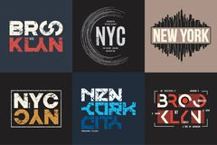 Set of six vector styled New York and Brooklyn t-shirt and apparel typographic designs, prints.  stock illustration