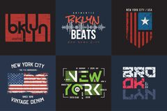 Set of six vector styled New York and Brooklyn t-shirt and apparel typographic designs, prints.  vector illustration
