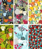 Set of six vertical cards with skulls and apples. Stock Image