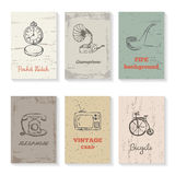 Set of six vintage cards Stock Images