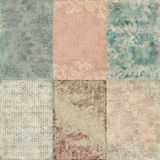 Set of six vintage floral shabby backgrounds. Set of six large shabby chic and grungy vintage botanical floral shabby scrapbook backgrounds with lots of texture royalty free stock photos