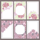 Set of six Vintage frame decorated with hand drawn flowers Royalty Free Stock Image