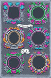 Set of Six Vintage Graphic Colored Garlands Stock Photos