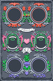 Set of Six Vintage Graphic Colored Garlands stock illustration