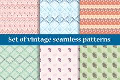 Set of six vintage seamless patterns. Pastel colors. Hand drawings. Delicate pink and green. Geometry Royalty Free Stock Photo