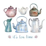 A set of six vintage watercolor kettles and teapots painted with watercolor. vector illustration