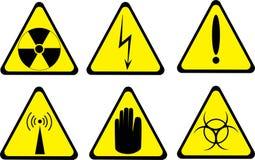 Set of six warning icons isolated on white Royalty Free Stock Images